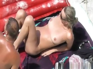 Beach fingering and fuck