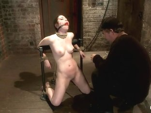 Local 'girl next door' bound up tight & helpless, flogged, nipple clamped, made to suck cock, & cu.