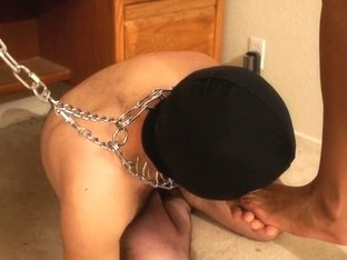 Ebony girl rides the fat rod of a humble boy on a leash