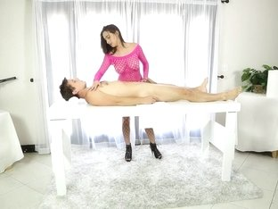 Ashley Adams fucking guy on the milking table