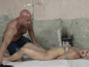 Blonde Sub Whipped Before Pussy Fucking