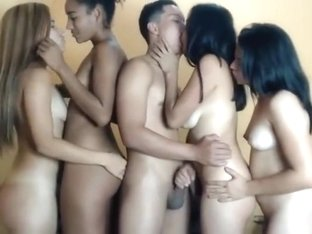 One lucky boy having fun with 4 girls part2