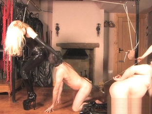 Goddesses torture balls and strapon latex Boots