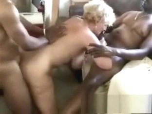 Interracial gangbang with a blonde bitch