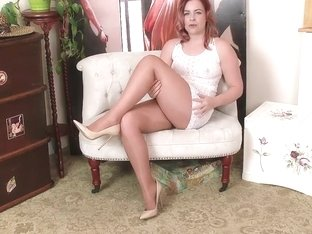 shiny pantyhose white dress high heels