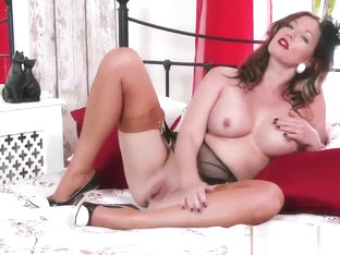Kinky naughty nylon heel garter masturbation big boobs Milf
