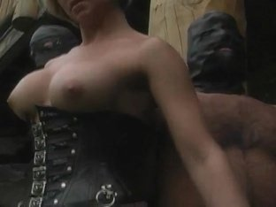 Handjob with leather gloves very hot