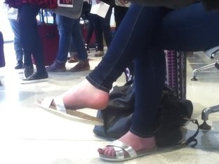 Candid sandal dangling at airport (faceshot) pt1