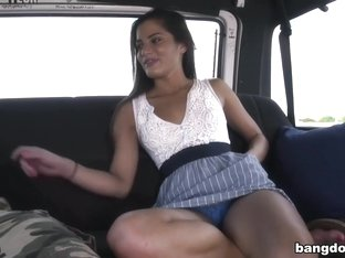 Sexy college girl gets anal on BangBus