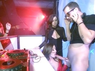 Club sluts Abigail and Keisha seduce and fuck the DJ