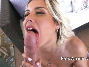 Blonde hottie anal banged in doggy style position
