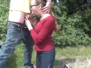Petite Amateur Teen In Glasses Pleasing Her Roommate Outdoor