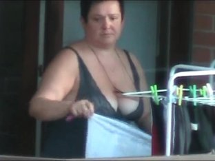 Big Tit Neighbor on balcony
