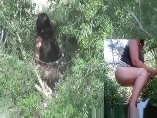 Woman spied peeing outdoors in the bushes