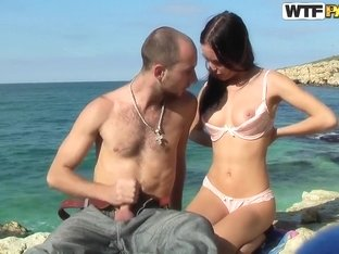 This couple enjoy fucking on the seaside, where they can be watched