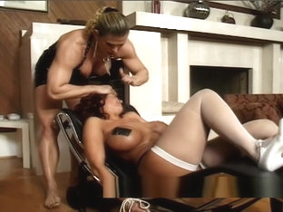 Milf with massive fake tits dominated by an angry bodybuilder