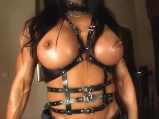 Angela female bodybuilder with huge strap-on