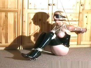 Blonde's Mouth Filled With Rubber Ball As She Gets Whipped