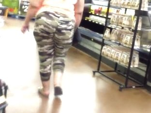 BBW In Camo Tights With Wedgie.Huge ASS