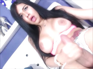 Beautiful Busty Shemale Masturbation Session