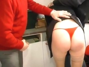Horny redhead maid will be drilled hard by two old men