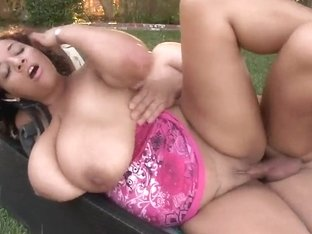 Heavy chested Selena Star gets nailed outdoor