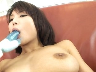 Cum on her chest, dildo in her hairy kitty: Azumi Harusaki